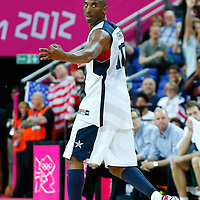 08 August 2012: USA Kobe Bryant celebrates after his third in a row three points shot made during 119-86 Team USA victory over Team Australia, during the men's basketball quarter-finals, at the 02 Arena, in London, Great Britain.