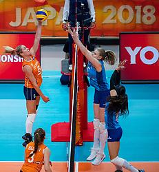 03-10-2018 NED: World Championship Volleyball Women day 5, Yokohama<br /> Argentina - Netherlands 0-3 / Maret Balkestein-Grothues #6 of Netherlands, Lucia Fresco #5 of Argentina