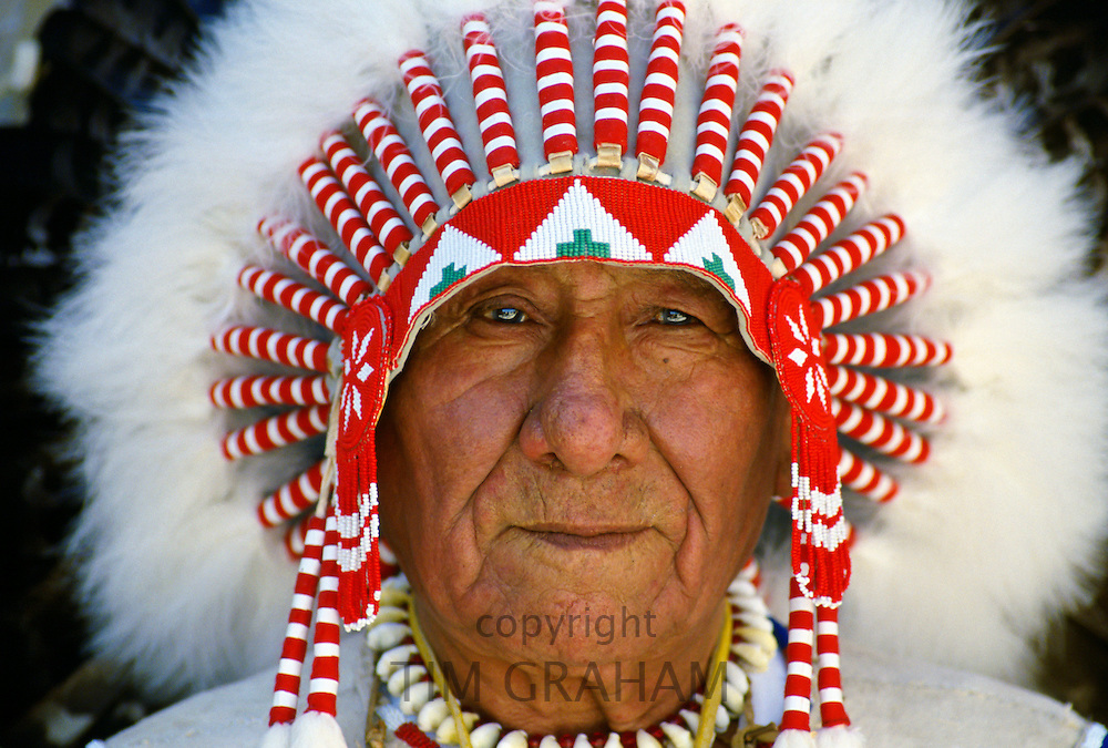 First Nation Chief in traditional headdress Canada. RESERVED USE - NOT FOR DOWNLOAD -  FOR USE CONTACT TIM GRAHAM