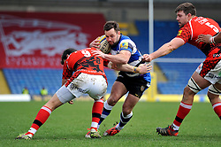 Micky Young of Bath Rugby takes on the London Welsh defence - Photo mandatory by-line: Patrick Khachfe/JMP - Mobile: 07966 386802 29/03/2015 - SPORT - RUGBY UNION - Oxford - Kassam Stadium - London Welsh v Bath Rugby - Aviva Premiership