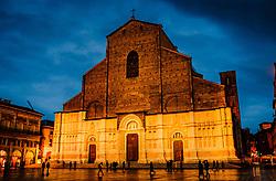 The Basilica di San Petronio floodlit on a wet rainy evening, Bologna, Italy<br /> <br /> (c) Andrew Wilson | Edinburgh Elite media
