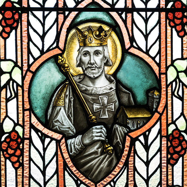 St. Edward was the patron saint of Edward de Veaux Morrell, husband of Louise Drexel Morrell, who financed the convent's construction. (Mrs. Morrell was the sister of St. Katharine Drexel, founder of the order of the Blessed Sisters of the Sacrament.)<br /> <br /> Edward the Confessor (1003-1066) was king of England from 1042-1066. He is holding a model of the original Westminster Abbey, which was begun during his reign. (It was torn down in 1245 and replaced with the current building.) St. Edward is usually shown holding a ring, referring to a complicated story in which he gave a ring to a beggar who turned out to be St. John the Evangelist in disguise. I'm guessing the Morrells chose the Abbey instead of the ring to underscore their role in the construction of the convent.