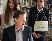 © Licensed to London News Pictures. 06/03/2015. London, UK. NICK CLEGG. Deputy Prime Minister and Leader of the Liberal Democrats NICK CLEGG  and Hornsey and Wood Green MP LYNNE FEATHERSTONE visit Hornsey School for Girls today, 6th March 2015, as part of the schools work surrounding International Women's Day (March 9th). They watched a presentation by pupils on FGM, visited a careers stand promoting careers where women are under-represented and took part in a Q&A about women in politics. Photo credit : Stephen Simpson/LNP