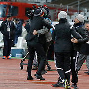 Besiktas's coach Slaven Bilic (L) celebrate victory during their Turkish superleague soccer match Besiktas between Bursaspor at Ataturk Olimpiyat Stadium in Istanbul Turkey on Sunday 15 February 2015. Photo by Aykut AKICI/TURKPIX
