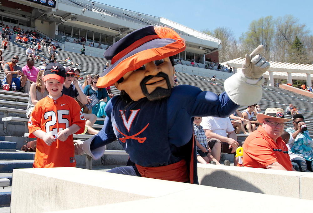 The Virginia Cavalier mascot greets fans during the annual Virginia football Orange-Blue Spring Game Saturday at Scott Stadium in Charlottesville, VA. Photo/The Daily Progress/Andrew Shurtleff