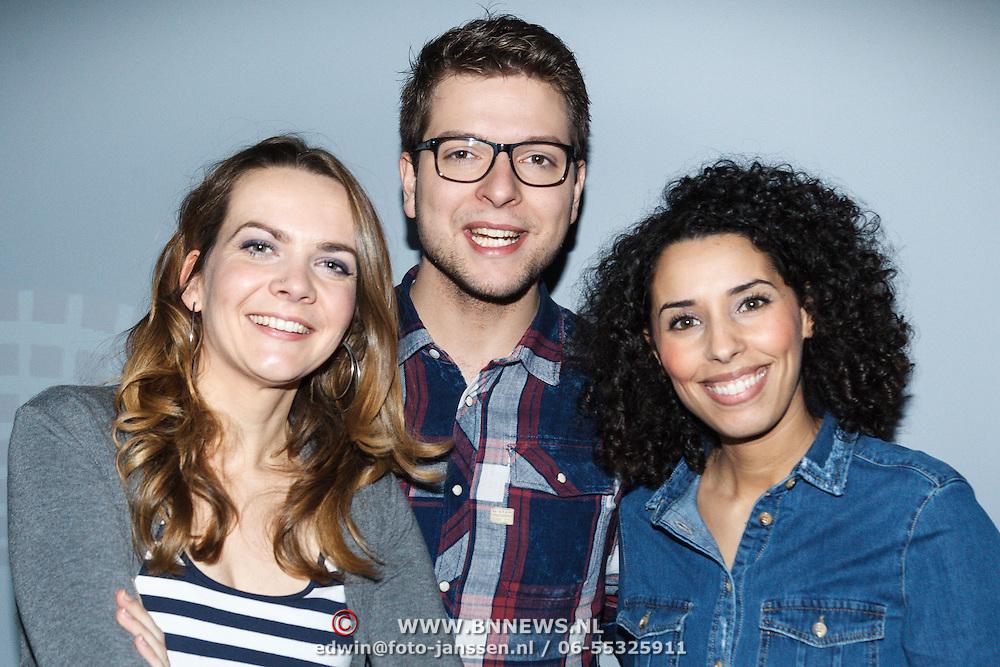 NLD/Hilversum/20160110 - NOS Journaal bestaat60 jaar en viert dit met Festival van het Nieuws, presenatator jeugdjournaal Lysette van Geel, Robbie Kammeijer, Siham Raijoul