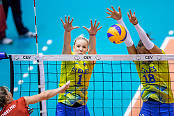 24-08-2017 NED: World Qualifications Belgium - Slovenia, Rotterdam<br /> Eva Mori #1 of Slovenia, Sasa Planinsec #18 of Slovenia<br /> Photo by Ronald Hoogendoorn / Sportida