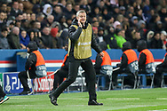 Manchester United interim Manager Ole Gunnar Solskjaer gestures during the Champions League Round of 16 2nd leg match between Paris Saint-Germain and Manchester United at Parc des Princes, Paris, France on 6 March 2019.
