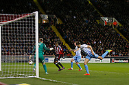 Leon Clarke of Sheffield Utd scores the first goal during the English League One match at Bramall Lane Stadium, Sheffield. Picture date: April 5th 2017. Pic credit should read: Simon Bellis/Sportimage