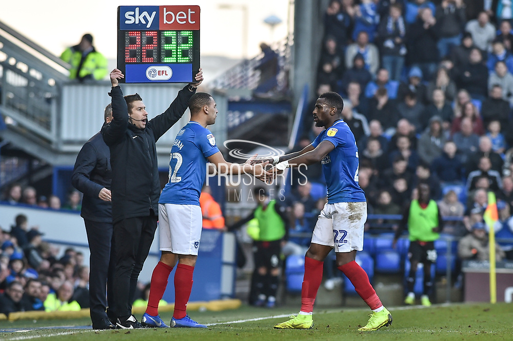Portsmouth Forward, Omar Bogle (22) coming off for Portsmouth Forward, James Vaughan (32) during the EFL Sky Bet League 1 match between Portsmouth and Barnsley at Fratton Park, Portsmouth, England on 23 February 2019.