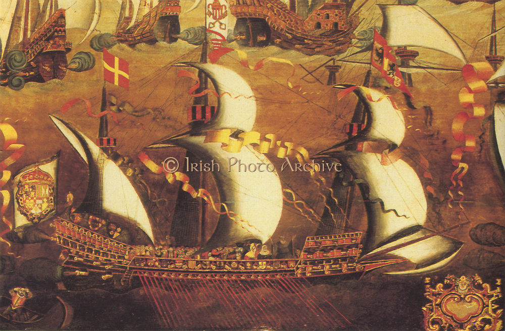 A galliass or galleass, part of the Spanish Armarda which sailed against England during the Anglo-Spanish War of 1585-1604. A vessel larger and more heavily built than a galley, and propelled by both sail and oars. They carried 32 oars, eached worked by up to five men.  Usually equipped with three masts and a forecastle and aftcastle.