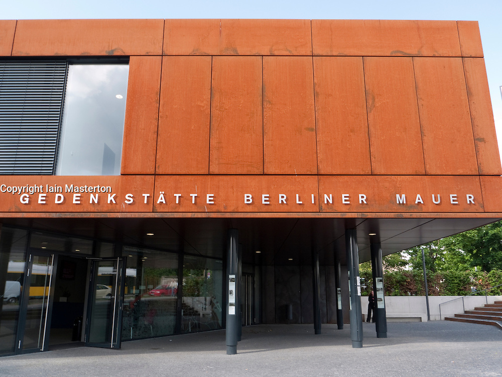 New Berlin Wall Memorial visitor centre on Bernauer Street beside new recreated death strip of Berlin wall Germany