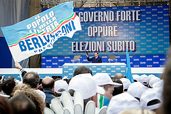 Bari, Italy - Apr. 13, 2013 - Silvio Berlusconi, leader of centre-right 'People of Freedom' party (PDL), speaks during an event of the party in Bari, Italy, 13 April 2013. Thousands of people attending the event. Italy has been in a political deadlock since the country's general election in February, during which the Democratic Party secured more seats in Italy's parliament than Berlusconi's center-right People of Freedom party, but did not win a working majority. Photo Giovanni Marino/Invision