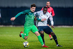 Martin Kramaric of Slovenia and Tanguy Ndombele of France during football match between Slovenia and France in Qualifying round for European Under-21 Championship 2019, on November 13, 2017 in Sportni park, Domzale, Slovenia.  Photo by Ziga Zupan / Sportida