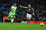 Raheem Sterling of Manchester city goes past Alan Hutton of Aston Villa (r). Barclays Premier league match, Aston Villa v Manchester city at Villa Park in Birmingham, Midlands  on Sunday 8th November 2015.<br /> pic by  Andrew Orchard, Andrew Orchard sports photography.