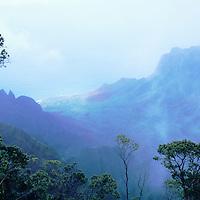 Hawaii, Kauai, Napali, Kalalau, valley view from Kokee State Park's Kalalau Lookout, misty look