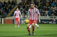 Tom Pett (Stevenage) controls the ball in the Hartlepool penalty box during the Sky Bet League 2 match between Hartlepool United and Stevenage at Victoria Park, Hartlepool, England on 9 February 2016. Photo by Mark P Doherty.