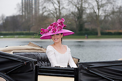 """© Licensed to London News Pictures. 24/01/2013. London, United Kingdom. Ascot launches captivating new campaign image for Royal Ascot 2013 Royal Meeting.  Celebrated cycling Olympian, Victoria Pendleton, launches the Royal Ascot 2013 campaign """"The Colour and the Glory"""" in Londons Hyde Park wearing Emilia Wickstead and Philip Treacy. Photo credit : Justin Setterfield/LNP"""