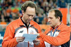 Head Coach Lorenzo Bernardi and assistant coach Stefano Cappellotto of Jastrzebski during volleyball match between ACH Volley (SLO) and Jastrzebski Wegiel (POL) in 6th Round of 2011 CEV Champions League, on January 12, 2011 in Arena Stozice, Ljubljana, Slovenia. (Photo By Matic Klansek Velej / Sportida.com)