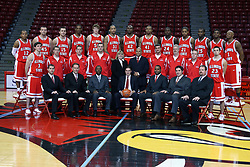 16 October 2008: Team shot taken at Illinois State University Redbirds Men's basketball media day on Doug Collins Court inside Redbird Arena on the campus of Illinois State University in Normal Illinois