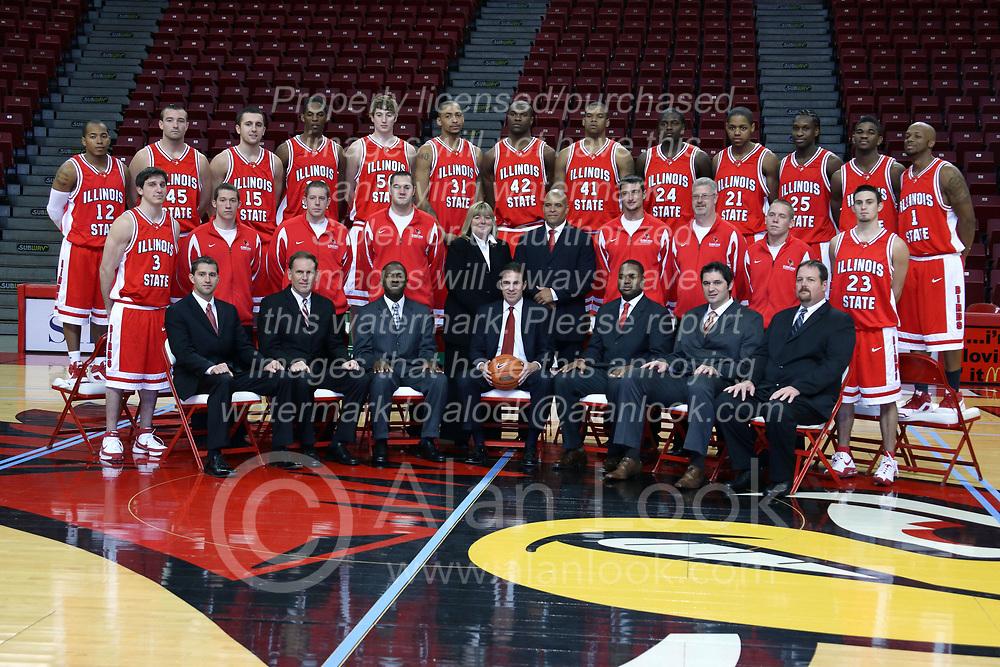 16 October 2008: Team shot taken at Illinois State University Redbirds Men's basketball media day on Doug Collins Court inside Redbird Arena on the campus of Illinois State University in Normal Illinois