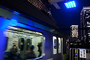 Blue lights installed at all 29 JR Yamanote Line stations for a cost of 15 million Yen (165,000 USD) in an effort to decrease suicides by people jumping under trains. Over 2,000 people jumped under trains in 2008, accounting for 6% of all suicides in the country. The blue LED lights are meant to calm and soothe potential jumpers, though there is little scientific evidence for this. Japan has one of the highest suicide rates in the world which the recent economic crisis has exacerbated. Yurakucho Station, Tokyo, Japan December 4th 2009