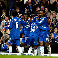 Photo: Ed Godden/Sportsbeat Images.<br /> Chelsea v Nottingham Forest. The FA Cup. 28/01/2007.<br /> Chelsea's Mikel (second from the right), celebrates scoring to make it 3-0.