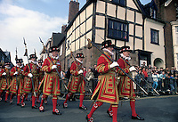 Ceremonial parade of the Yeoman of the Guard on their way to Lichfield Cathedral, UK. March 1988. Photographed by Terry Fincher