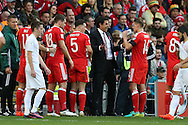 Chris Coleman, the Wales manager speaks to his players during a break in play. Wales v Georgia , FIFA World Cup qualifier, European group D match at the Cardiff city Stadium in Cardiff on Sunday 9th October 2016. pic by Andrew Orchard, Andrew Orchard sports photography