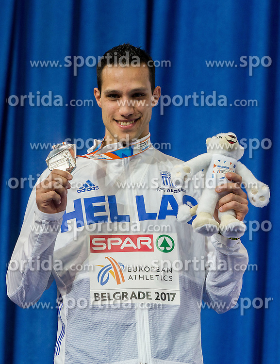 Second placed Konstadínos Filippídis of Greece celebrates during victory ceremony after competing in the Pole Vault Men Final on day two of the 2017 European Athletics Indoor Championships at the Kombank Arena on March 4, 2017 in Belgrade, Serbia. Photo by Vid Ponikvar / Sportida