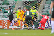 Plymouth Argyle's Jamille Matt scores the opening goal to give the home team a 1-0 lead during the Sky Bet League 2 match between Plymouth Argyle and York City at Home Park, Plymouth, England on 28 March 2016. Photo by Graham Hunt.