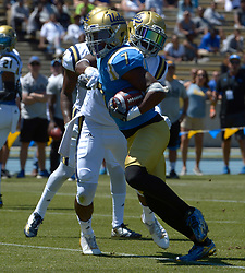 April 29, 2017 - Los Angeles, California, U.S. - UCLA Bruins Darren Andrews (7) runs for a touchdown during the UCLA football Spring Showcase on Saturday, April 29, 2017 in Los Angeles. (Photo by Keith Birmingham, Pasadena Star-News/SCNG) (Credit Image: © San Gabriel Valley Tribune via ZUMA Wire)