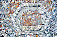 3rd century AD Roman mosaic panel of pomegranates in a basket from Thugga, Tunisia.  The Bardo Museum, Tunis, Tunisia. .<br /> <br /> If you prefer to buy from our ALAMY PHOTO LIBRARY  Collection visit : https://www.alamy.com/portfolio/paul-williams-funkystock/roman-mosaic.html - Type -   Bardo    - into the LOWER SEARCH WITHIN GALLERY box. Refine search by adding background colour, place, museum etc<br /> <br /> Visit our ROMAN MOSAIC PHOTO COLLECTIONS for more photos to download  as wall art prints https://funkystock.photoshelter.com/gallery-collection/Roman-Mosaics-Art-Pictures-Images/C0000LcfNel7FpLI