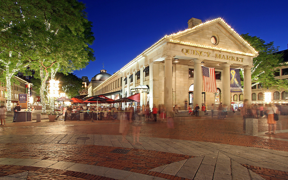 Boston Quincy market near Faneuil Hall Marketplace is popular with locals and tourists for its food stalls, restaurants and shopping areas. After sunset twilight paints the sky blue while the city lights around Quincy Market become alive.<br /> <br /> <br /> This Boston photo image is available as museum quality photography prints, canvas prints, acrylic prints or metal prints. Prints may be framed and matted to the individual liking and decorating needs: <br /> <br /> http://juergen-roth.artistwebsites.com/featured/boston-quincy-market-near-faneuil-hall-juergen-roth.html<br /> <br /> Good light and happy photo making!<br /> <br /> My best,<br /> <br /> Juergen<br /> Prints: http://www.rothgalleries.com<br /> Photo Blog: http://whereintheworldisjuergen.blogspot.com<br /> Twitter: @NatureFineArt<br /> Facebook: https://www.facebook.com/naturefineart