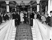 Prince Rainier and Princess Grace visit Ireland. Meeting the Lord Mayor of Dublin, Maurice Dockrell, at a reception in the Mansion House, where they presented £700 to various charities..12.06.1961<br /> <br /> Thanks to Astrid Meenaghan<br /> This photo was taken in Brown Thomas and has my Grand father  Senator Edward McGuire, my step grandmother Karey McGuire, my parents John and Birgitta McGuire  standing with Princess Grace and Prince Rainier.The royal couple where in Dublin to present the La Coupe D'Or to Brown Thomas.