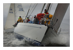 Yachting- The first days racing  of the Bell Lawrie Scottish series 2003 at Gourock.  The wet start looks set to last for the overnight race to Tarbert...Desperado, Richard Loftus's  Swan 65 beating up the Clyde. Class One...Pics Marc Turner / PFM