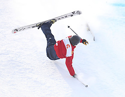 Great Britain's James Woods falls during run 3 in the Men's Ski Slopestyle Skiing at the Pheonix Snow Park during day nine of the PyeongChang 2018 Winter Olympic Games in South Korea.
