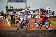 #7 (SAKAKIBARA Saya) AUS [DK, Redbull, Box, FLY] and #6 (STANCIL Felicia) USA [Supercross, FLY] at Round 7 of the 2019 UCI BMX Supercross World Cup in Rock Hill, USA