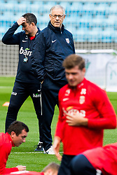 October 10, 2018 - Oslo, NORWAY - 181010 Lars Lagerbäck, head coach of Norway, and Alexander Sørloth of Norway during a training session on October 10, 2018 in Oslo..Photo: Jon Olav Nesvold / BILDBYRÃ…N / kod JE / 160323 (Credit Image: © Jon Olav Nesvold/Bildbyran via ZUMA Press)