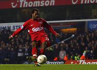 Photo. Daniel Hambury.<br /> Carling Cup.<br /> Tottenham Hotspur v Liverpool. 1/12/2004.<br /> Liverpool's Florent Sinama Pongolle score the winning penalty