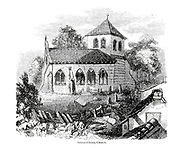 Sutton-Cheney Church [Hinckley and Bosworth, Leicestershire, England] From the book The wanderings of a pen and pencil by Palmer, F. P. (Francis Paul); Illustrated by Crowquill, Alfred, [Alfred Henry Forrester]  Published in London by Jeremiah How in 1846