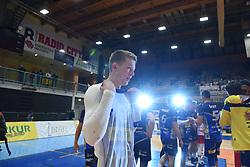 Rok Mozic of OK Merkur Maribor celebrating as National Champions after winning 1. DOL final match between OK Merkur Maribor and ACH Volley, on April 25, 2021 in Dvorana Tabor, Maribor, Slovenia. Photo by Milos Vujinovic / Sportida