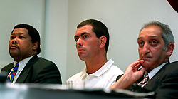L-R: Nconde Balfour, South African Sports minister, Hansie Cronje and South African Deputy Foreign Affairs minister Aziz Pahad at a press conference where it was alleged he received money during the recent triangular tournament with Zimbabwe and England