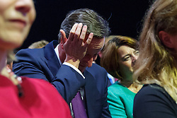 © Licensed to London News Pictures. 06/10/2015. Manchester, UK. Prime Minister David Cameron listening Mayor of London Boris Johnson's speech at Conservative Party Conference at Manchester Central convention centre on Tuesday, 6 October 2015. Photo credit: Tolga Akmen/LNP