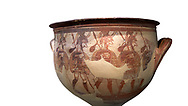 'House of Warriors Vase' : Pictoral Mycenaean Krater depicting Mycenaean soldiers in full armour, Mycenae Acropolis, 12th Cent BC.  National Archaeological Museum Athens. Cat no 1426.  White Background.<br /> <br /> This large pictoral Mycenaean Krater depicts Mycenaean soldiers full armed with helmet, cuirass, greaves, shield and spaer as they depart for war. This is a superb example of Mycenaean pictoral pottery .<br /> <br /> If you prefer to buy from our ALAMY PHOTO LIBRARY  Collection visit : https://www.alamy.com/portfolio/paul-williams-funkystock/mycenaean-art-artefacts.html . Type -   Athens    - into the LOWER SEARCH WITHIN GALLERY box. Refine search by adding background colour, place, museum etc<br /> <br /> Visit our MYCENAEN ART PHOTO COLLECTIONS for more photos to download  as wall art prints https://funkystock.photoshelter.com/gallery-collection/Pictures-Images-of-Ancient-Mycenaean-Art-Artefacts-Archaeology-Sites/C0000xRC5WLQcbhQ