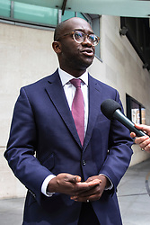 © Licensed to London News Pictures. 02/06/2019. London, UK. Conservative MP Sam Gymiah, who has announced that he will run to be Leader of the Conservative party, speaks to reporters as he arrives at BBC Broadcasting House. Photo credit: Rob Pinney/LNP