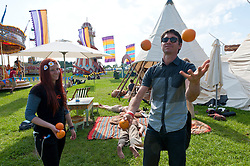 © Licensed to London News Pictures. 29/05/2016. Hay-on-Wye, Powys, Wales, UK. Beautiful weather on the fourth day of the 'HowTheLightGetsIn' Festival of Ideas at Hay-on-Wye, Wales. Photo credit: Graham M. Lawrence/LNP