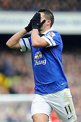 Everton's Kevin Mirallas cuts a devastated figure afer coming close to scoring  - Photo mandatory by-line: Dougie Allward/JMP - Tel: Mobile: 07966 386802 23/11/2013 - SPORT - Football - Liverpool - Merseyside derby - Goodison Park - Everton v Liverpool - Barclays Premier League