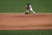 San Francisco Giants shortstop Brandon Crawford (35) makes a play against the Los Angeles Dodgers at AT&T Park in San Francisco, Calif., on October 1, 2016. (Stan Olszewski/Special to S.F. Examiner)