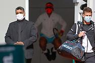 Rafael NADAL (ESP) is jumping, Diego SCHWARTZMAN (ARG) is running on the right during the Roland Garros 2020, Grand Slam tennis tournament, on October 9, 2020 at Roland Garros stadium in Paris, France - Photo Stephane Allaman / ProSportsImages / DPPI